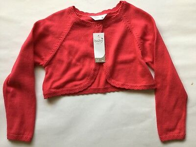 Baby Girls Red Long Sleeve Crop Cardigan. Age 0 through to 24 months
