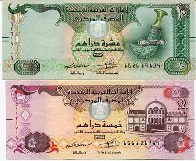 Uae United Arab Emirates Set 2 Pcs 5 10 Dirhams 2015 P New Blind Assist Unc