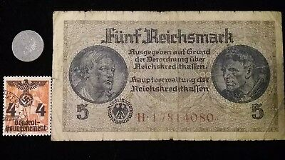 Authentic Lot Nazi Germany WWII Swastika On All. A Banknote & Coin + Stamp Set