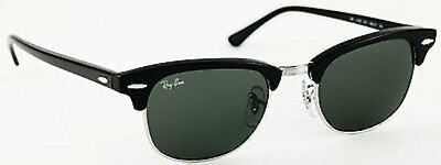 27a48e371a RAY-BAN CLUBMASTER RB3016 901 Silver   Black   Green G-15 Sunglasses ...