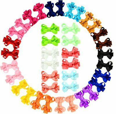 YHXX YLEN 20Pcs Small Baby Hair Bows Ribbon Clips for Girls Toddlers Kids 645-40