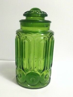 Vtg LE SMITH Green MOON & STARS Large Apothecary Jar FLOUR Canister #6285 w/Lid