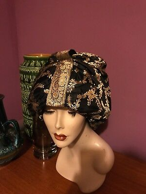Vintage 1950s black and gold custom millinery Bullock's Wiltshire turban hat