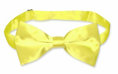 BIAGIO 100% SILK BOWTIE Solid YELLOW Color Men's Bow Tie for Tuxedo or Suit