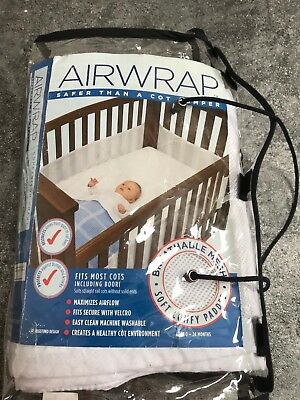 Airwrap Four-Sided Baby Cot Bumper, White Mesh