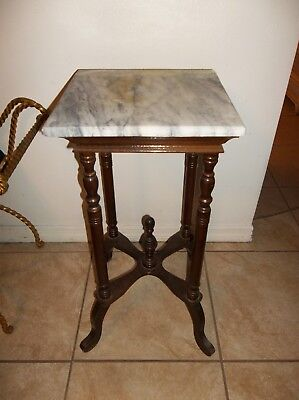 """Antique Vintage Marble Top Victorian Entry Side Table Plant Stand 29"""" Tall"""