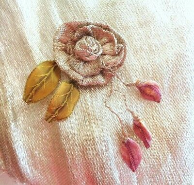 """3"""" Handmade Silk Lame French Silk Ombre & Victorian Leaves Rose Bud & Leaves"""