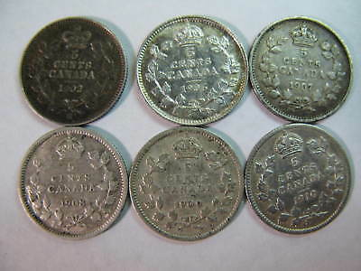 Canada, Six Silver Five Cent Coins Dated 1902,06,07,08,09,10, Hi Grades, Cheap !