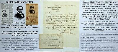 Civil War Abolitionist Governor Senator Illinois Signed Free Frank Letter Cover!