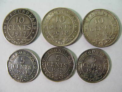 NEWFOUNDLAND, CANADA, 3 TEN Cts. & 3 FIVE Cts COINS, CHEAP !