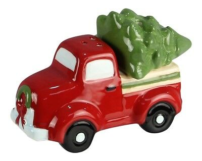 Young's Red Pickup Truck Hauling Christmas Holiday Tree Salt and Pepper Shakers