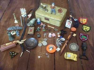 Job Lot Vintage Antique Collectables,Old Curios,BRASS,LEAD TOY,COINS,BRONZE BELL
