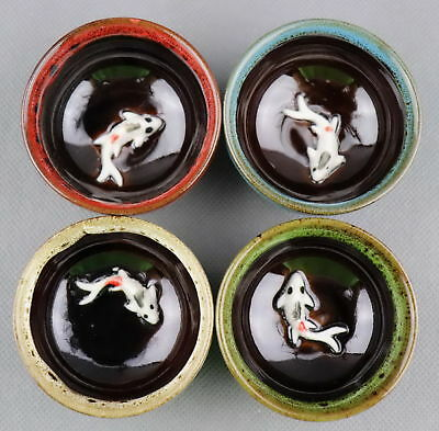 Collectable China Culture Porcelain Hand-Carve 2 Pairs Delicate Goldfish Teacup