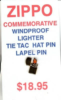 New Zippo Factory Issue Tie Tack  Made Usa Very Rare Windproof Model With Flame