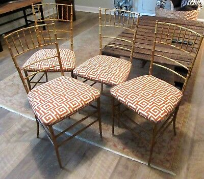 Set Of 4 Mid Century Modern Faux Bamboo Metal Dining Chairs