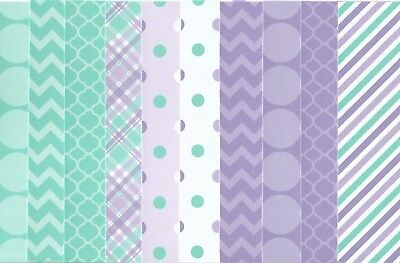 Card Fronts Toppers  Mats Background Layers X 10 Aqua & Purple A6 - Easy