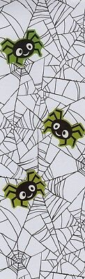 Spiders and their Webs (green)  decorative paper, laminated bookmark