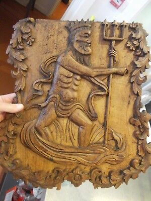 CARVED shield antique carving PANEL MERLIN TRITON POSEIDON NEPTUNE escutcheon