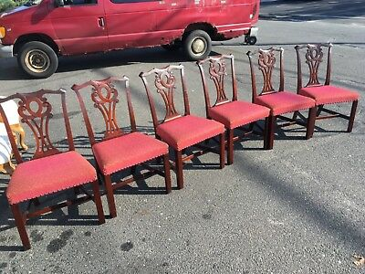 Set of 6 Antique Chippendale Carved Solid Mahogany Dining Room Chairs 1950`s