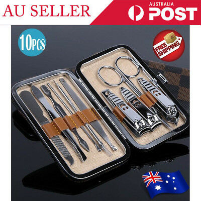 10Pcs Stainless Nail Clippers Kit Manicure Pedicure Set Cuticle Grooming Case FM