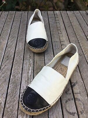 ba95cf39f30  225 Tory Burch Color Block Espadrille Flats Ivory black Leather Women 6.5