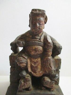 Antique Chinese Wood Carved Guan Yu Guandi Seated Figure with Gilt Gold & Red