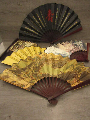 Lot of Five Vintage Silk Hand Fans with Asian Designs
