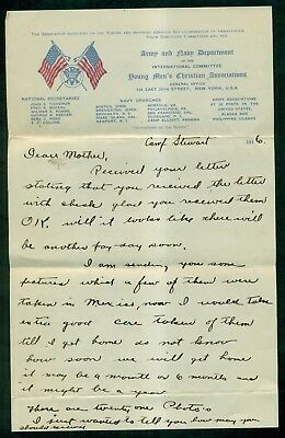 1916 Army and Navy Department YMCA Stationery Soldier's Letter