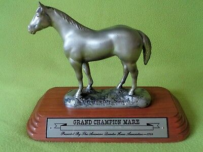 AQHA Quarter Horse 1984 PEWTER Grand CHAMPION Trophy Statue~Vintage Collect~NR