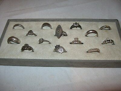 Lot of 14 Mixed Vintage & Modern Collection Assorted Sterling Silver Rings