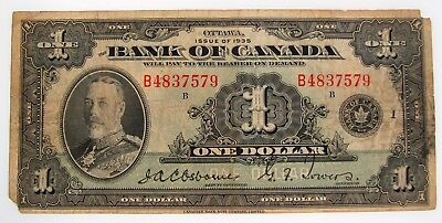 1935 $1 Dollar Bill Bank of Canada Note Currency Old Paper Money English Issue