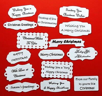 Merry Christmas Die Cuts Tags Labels X 15 - Assorted Shapes And Sizes