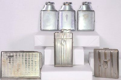 Lot (6) Vintage COLIBRI RONSON EVANS Silvertone Cigarette Cases & Case Lighters