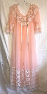 Vintage Intime' of California Peach Peignoir Nightgown & Robe Sz S Chiffon Lace