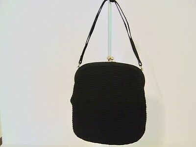 Vintage Mr. I. Milton  Black Cloth Textured Purse Handbag