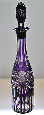Rare- Vintage Amethyst Cut To Clear Crystal Decanter With Stopper