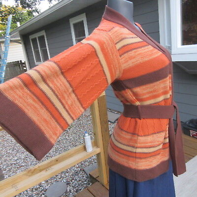 Vintage 1970's Hippie Boho Belted Cardigan Sweater -  Bell Sleeves - Fall Colors