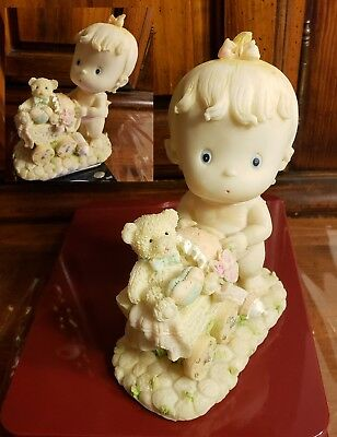 Adorable Retro Vintage Precious Moments Baby Push Bear In Buggy Ceramic Figurine