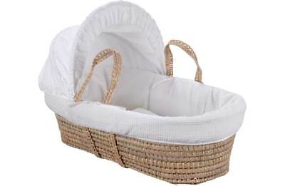 New Clair de Lune Palm Waffle Baby Carry Moses Basket Bed + Folding Pine Stand