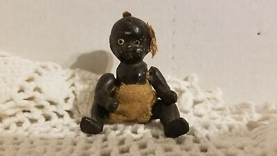 Vintage Black Americana Doll Baby String Jointed Bisque Porcelain 2.5""