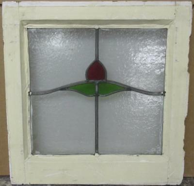 "OLD ENGLISH LEADED STAINED GLASS WINDOW Cute Simple Floral 16.25"" x 16.5"""