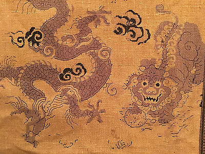 A Huge and Rare Chinese Antique Textile Dragon and Foo Lion Tapestry, Framed.