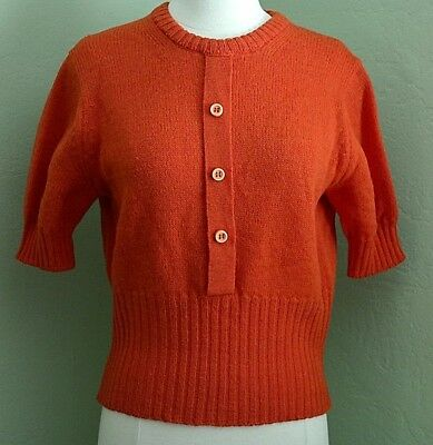 Vintage 50s Bobbie Brooks Tomato Red Virgin Wool Sweater