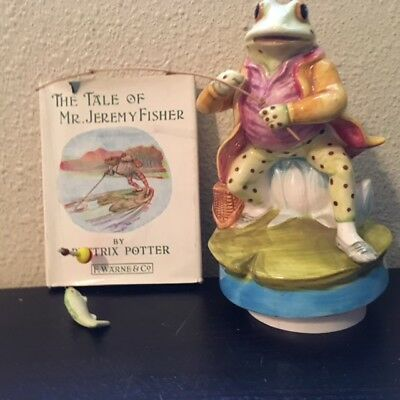 Schmid 1977 BEATRIX POTTER Music Box Lazy River & Tale of Mr Jeremy Fisher Book