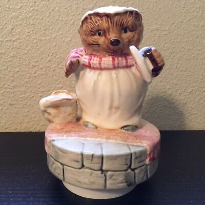 1977 Mrs Tiggy Winkle Beatrix Potter Music Box Schmid - What a Beautiful Morning
