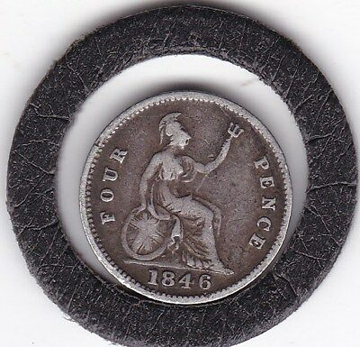 Queen  Victoria  1846  Four  Pence  (Groat)  Coin  (92.5% Silver)