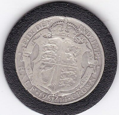 1914   King  George V  Half  Crown  (2/6d) -  Silver  92.5%  Coin