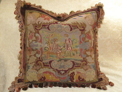 STUNNING ANTIQUE 19TH c NEEDLEPOINT TAPESTRY WOOLWORK SAMPLER ~ FIGURAL