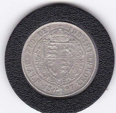 Sharp  1897   Queen  Victoria  Half  Crown (2/6d) - Sterling  Silver Coin