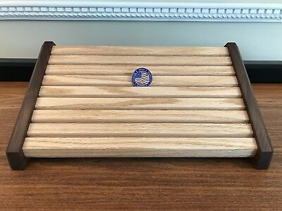 Challenge Coin Display Walnut & Red Oak Wood Stadium Style Military Coin Holder